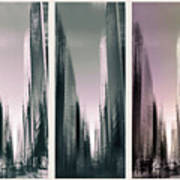 Metropolis Rush Hour Triptych Poster