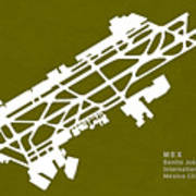 Mex Benito Juarez International Airport Silhouette In Olive Poster