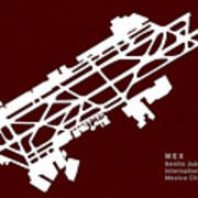 Mex Benito Juarez International Airport Silhouette In Red Poster