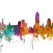 Miami And Nashville Skylines Mashup Poster
