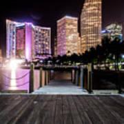 Miami - Bayside Market At Night Poster