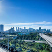 Miami Florida City Skyline And Streets Poster