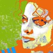 Michael Jackson Green And Orange Poster