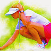 Michelle Wie Of Usa Lined Her Ball Poster