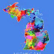 Michigan Map Color Splatter 3 Poster