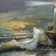 Michigan Seul Choix Point Lighthouse With An Angry Sea Poster