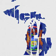 Michigan Typography Map Flag Poster