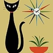 Mid Century Starburst Clock 3 Poster