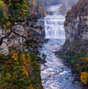 Middle Falls Letchworth State Park Poster by Dick Wood