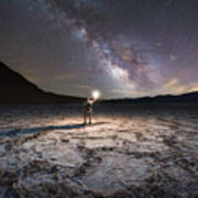 Midnight Explorer At Badwater Basin  Poster
