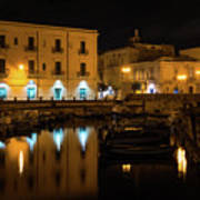 Midnight Silence And Solitude - Syracuse Sicily Illuminated Waterfront Poster