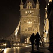 Midnight Stroll over the Bridge Poster