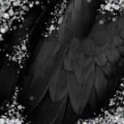 Midsummer Magik Quicksilver, Diamonds, Abstract Feathers, Silver Sparkles Poster