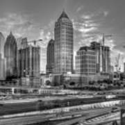 Midtown Atlanta Dusk B W Atlanta Construction Art Poster