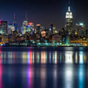 Midtown Manhattan From Jersey City At Night Poster by Val Black Russian Tourchin