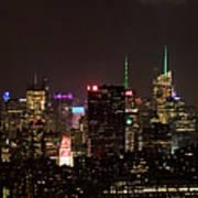 Midtown West Manhattan Skyline Aerial At Night Poster