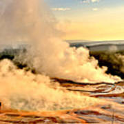 Midway Geyser Basin Steamy Sunrise Poster