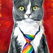 Mika - Gray Tuxedo Cat Painting Poster