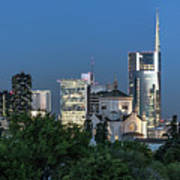 Milan Skyline By Night, Italy Poster