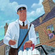 Milkman On Daily Milk Delivery In Urban Old Street Poster