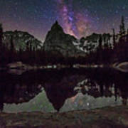 Milky Way Over Lone Eagle Peak And Mirror Lake Poster