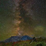 Milky Way Over Mount St Helens Poster