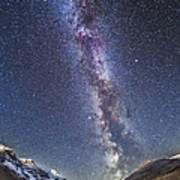 Milky Way Over The Columbia Icefields Poster