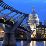 Millennium Bridge And St Pauls Cathedral Poster