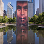 Millennium Park Fountain And Chicago Skyline Poster