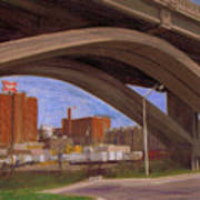 Miller Brewery Viewed Under Bridge Poster