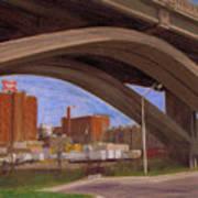 Miller Brewery Viewed Under Bridge Poster