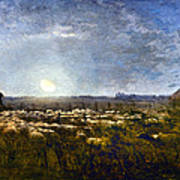 Millet: Sheep By Moonlight Poster