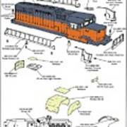 Milwaukee Road Sd-40 Pop-art Poster