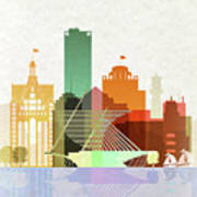 Milwaukee Skyline Color Poster