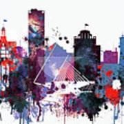 Milwaukee Watercolor Skyline Poster