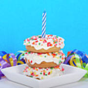 Mini Donut Cake With  Blue Candle Poster