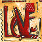 Mini Pop Art Gold Red Love Original Painting By Madart Poster
