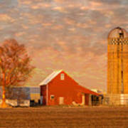 Minnesota Farm At Sunset Poster