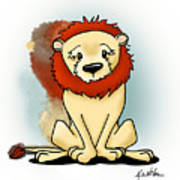 Lion Peaceful Reflection  Poster