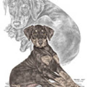 Mischief ... Moi? - Doberman Pinscher Puppy - Color Tinted Poster