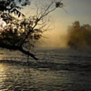 Mississippi River Foggy June Sunrise Poster