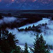 Mist Over Snake River, Sunrise Light Poster