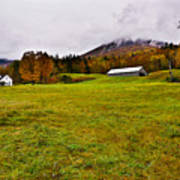 Misty Autumn At The Farm Poster