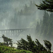 Misty Bridge At Heceta Head Poster