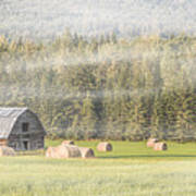 Misty Morning Haybales Poster