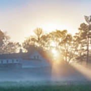 Misty Morning Sunrise - Valley Forge Poster