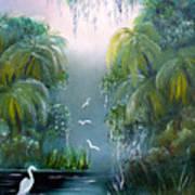 Misty Morning Swamp Poster