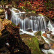 Misty Morning Waterfall Poster