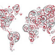 Mit University Colors Swirl Map Of The World Atlas Poster