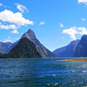 Mitre Peak In Milford Sound New Zealand Poster